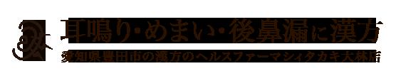 耳鳴り・めまい・後鼻漏漢方薬|豊田市のヘルスファーマシィタカキ大林店